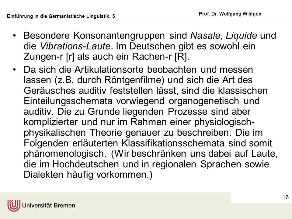 Besondere Konsonantengruppen sind Nasale, Liquide und die Vibrations-Laute. Im Deutschen gibt es sowohl ein Zungen-r [r] als auch ein Rachen-r [R].